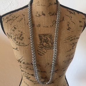 Ann Taylor Long Silver Braided Necklace